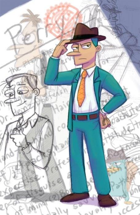 Caricatura de Perry el hornitorringo si fuera humano