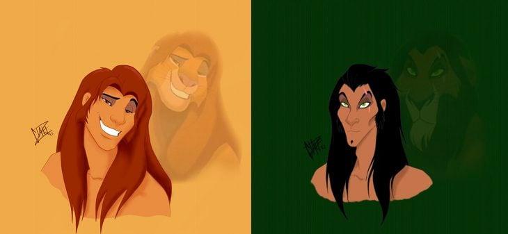 Caricatura del rey león humanizada
