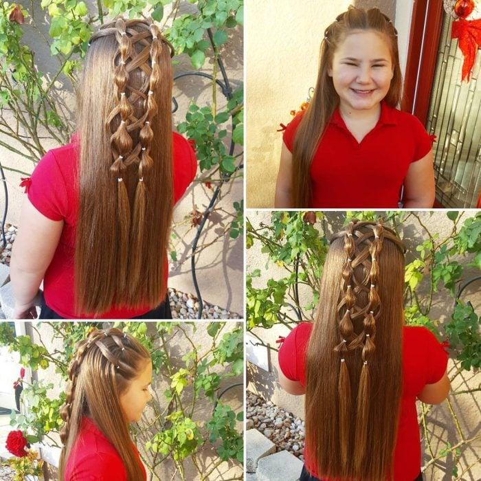 Chica usando unas trenzas de burbuja con un tejido de corsé