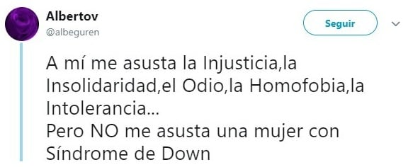 comentario de twitter sobre mujer con síndrome de down expulsada de un evento