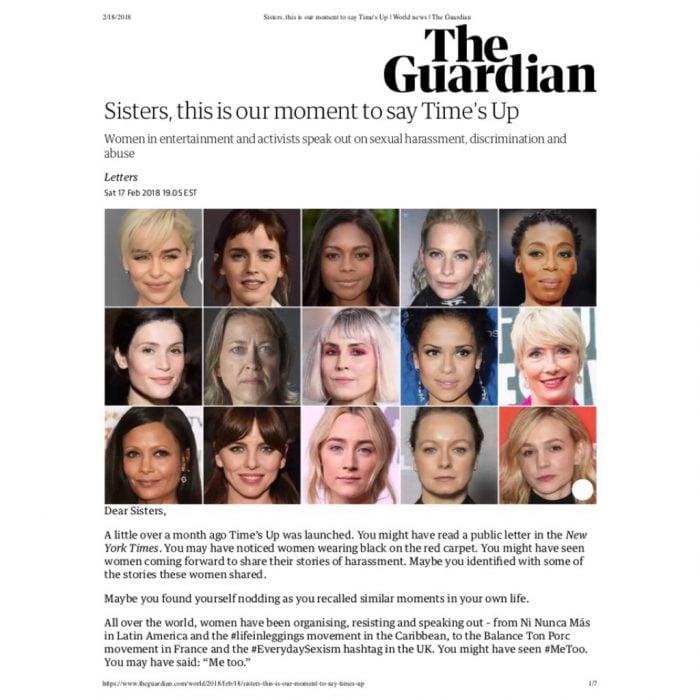 Carta de mujeres famosas contra el acoso