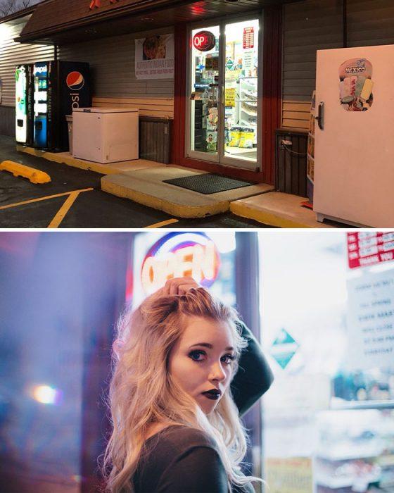 Chica posando en una sesión de fotos de una tienda de conveniencia