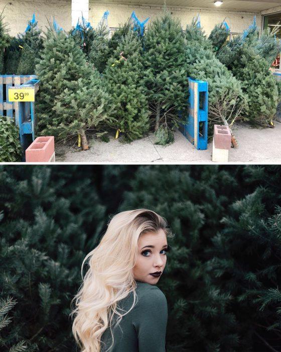 Chica posando en una sesión de fotos de una tienda de árboles