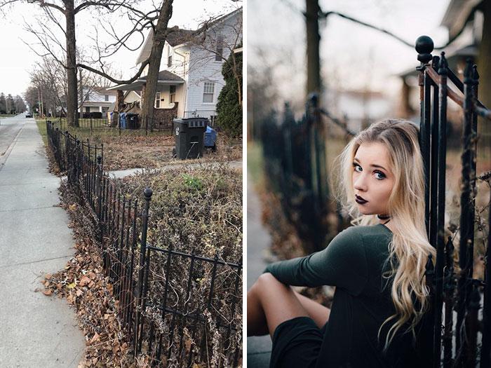 Sesión de fotos de una chica en un patio delantero