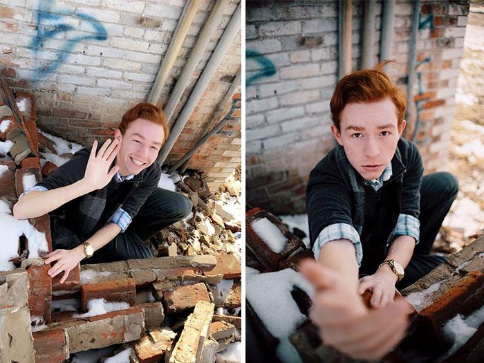 Sesión de fotos de un chico sentado frente a una pared