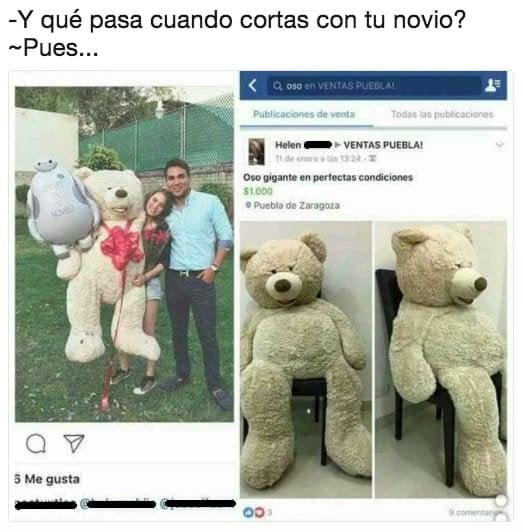 chica cargando un oso gigante