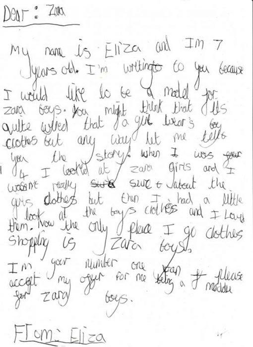 Carta que una niña envió a Zara porque quiere ser modelo de Zara Boys