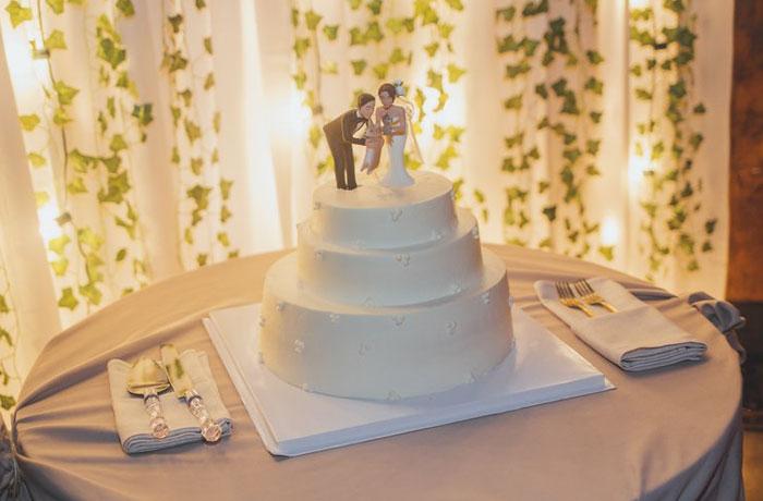 pastel de bodas con una replica de los novios y sus mascotas