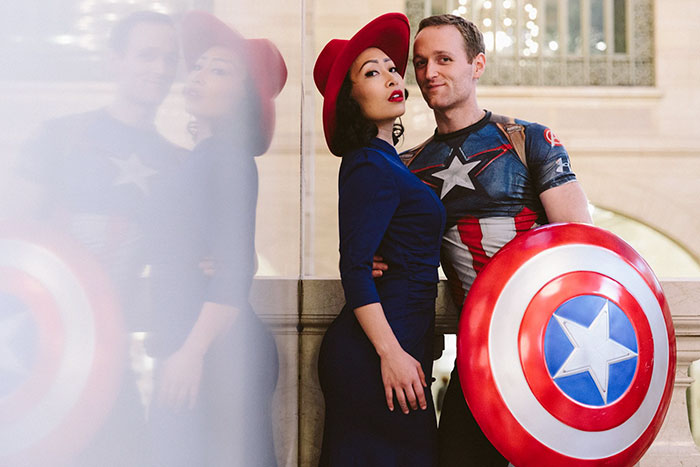 "Peggy Carter and Captain America from ""Captain America"" pareja de actores"