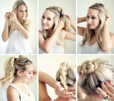 chica rubia peinando su cabello