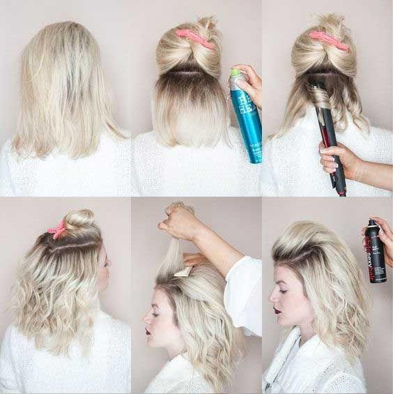 chica peinando su cabello corto