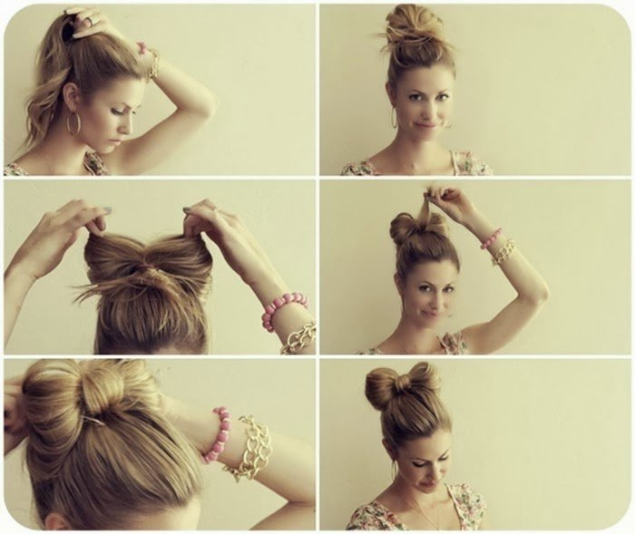 chica peinando su cabello en forma de moño