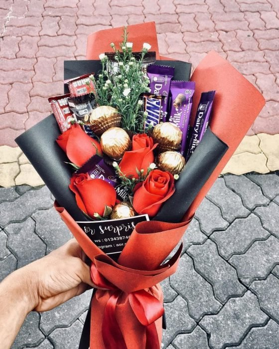 Ramo de dulces para el 14 de febrero