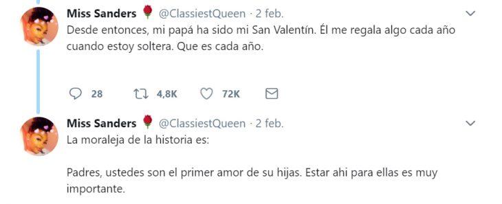Comentarios en twitter sobre la lección que un padre le dio a su hija el día de San Valentín
