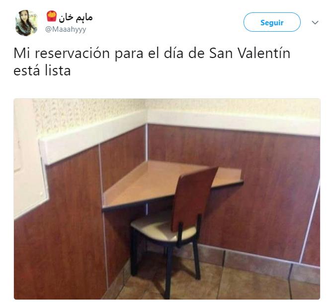 Comentarios en twitter de solteros sobre el día de San Valentín