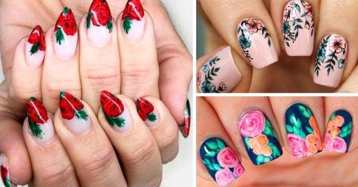 20 Uñas con diseños de flores para adornar tus manos