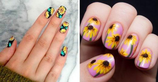 20 Diseños de arte en uñas con girasoles que te van a encantar