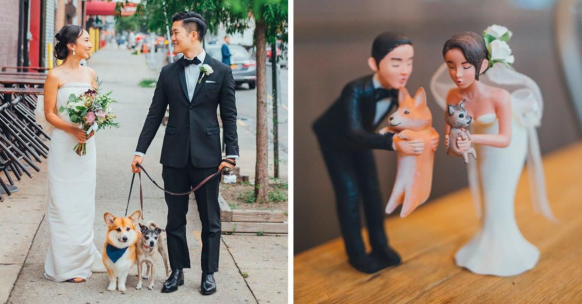 Esta pareja incluyó a sus perritos en su pastel de bodas
