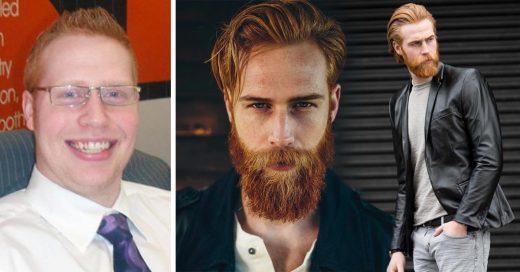 Se deja crecer la barba y ahora es un guapísimo modelo pelirrojo