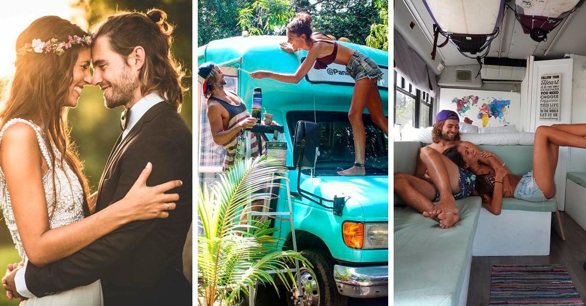 Esta pareja abandonó todo para viajar por el mundo dentro de un autobús