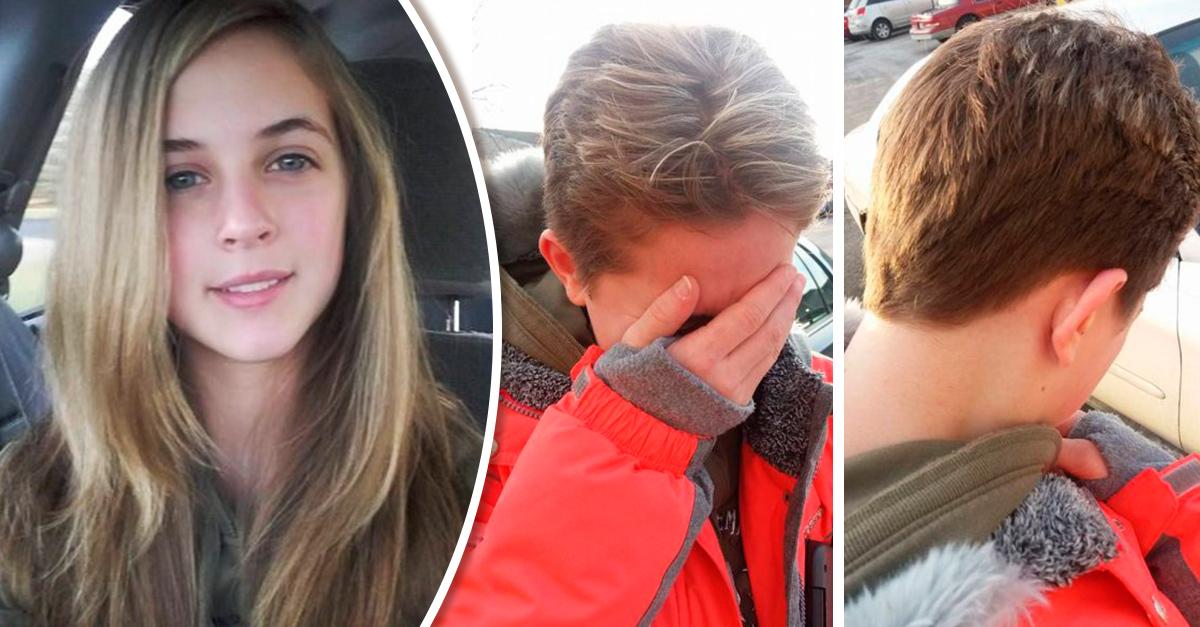Esta chica se tiño el cabello y su papá la rapo por hacerlo sin su consentimiento