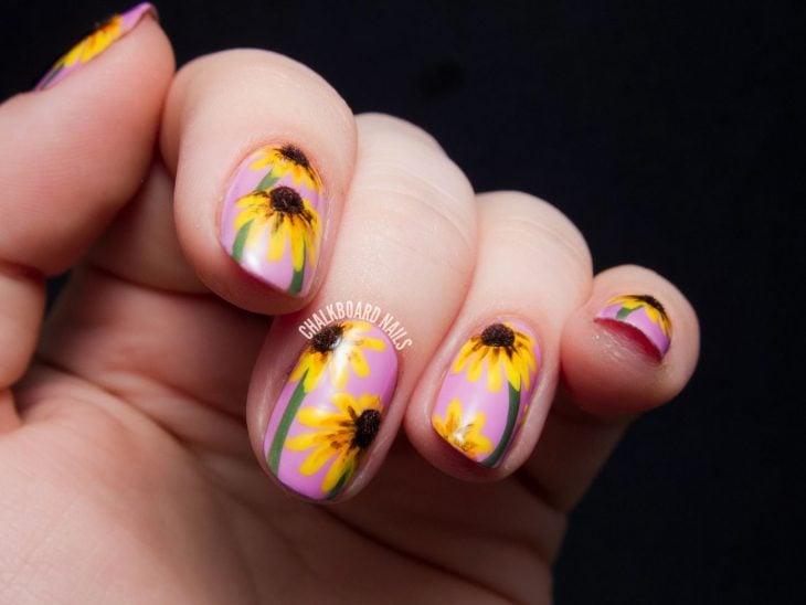 uñas girasol