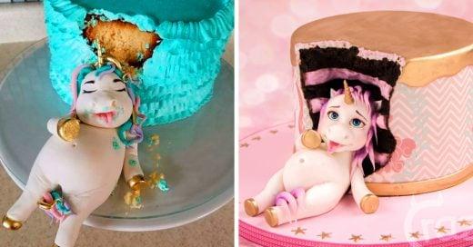 Hermosos pasteles de unicornios gordos devorando pastel que no podrás resistir