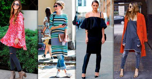 Esta es la moda que está conquistando el street style: vestidos sobre pantalones