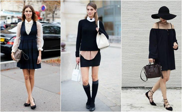 Chicas usando ballerinas negras lace up falda vestido street style