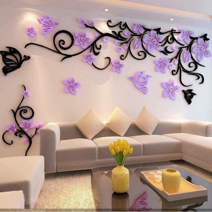Flores en la sala decoracion de interiores