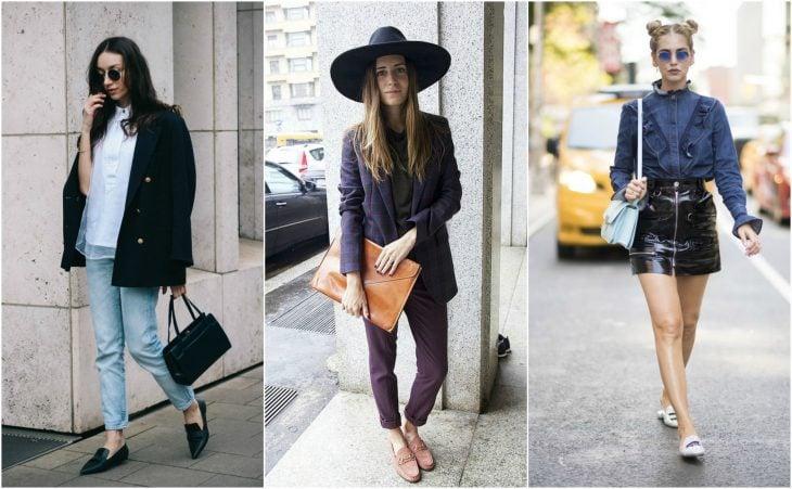 Loafers y slippers de color negro rosa y plata en chicas caucasicas street style moda chicas