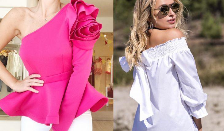 mujeres con blusas de colores solidos rosa y blanco