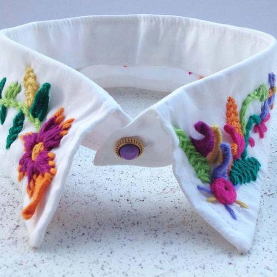 cuello bordado con flores de colores