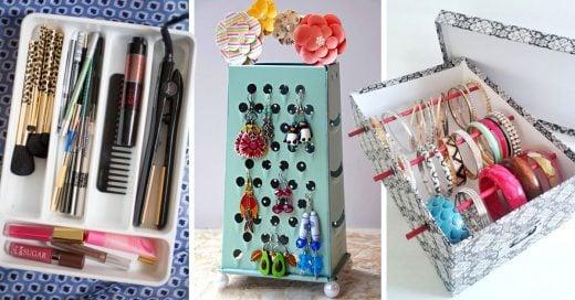 25 Trucos, productos e inventos para guardar tus productos de belleza