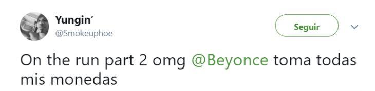 Comentarios en Twitter sobre la gira de Beyoncé y Jay Z
