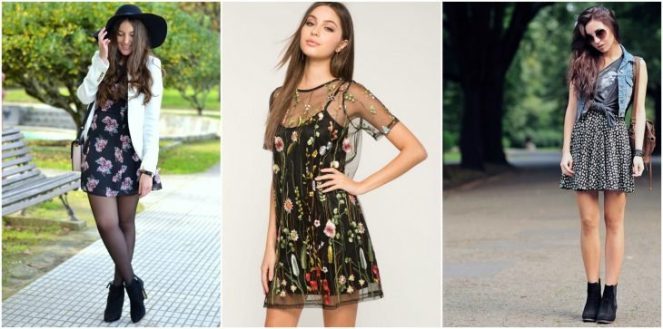 chicas usando vestidos con flores cortos