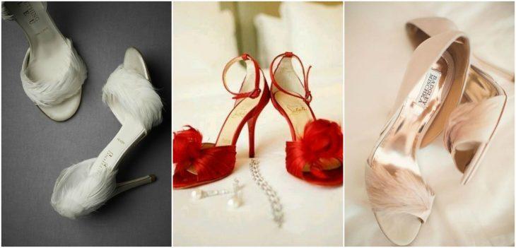 zapatos con plumas