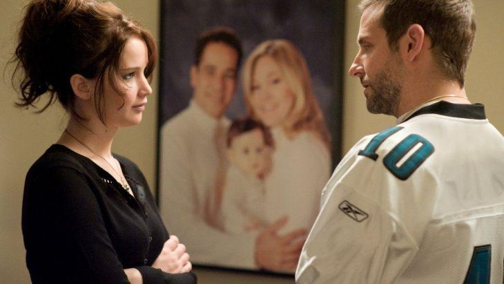 Jennifer Lawrence actuando en la película el lado bueno de las cosas