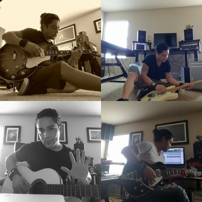 Chris Perez, esposo de Selena tocando la guitarra