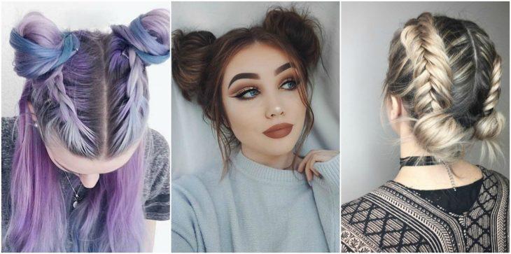 chicas usando bun en el cabello