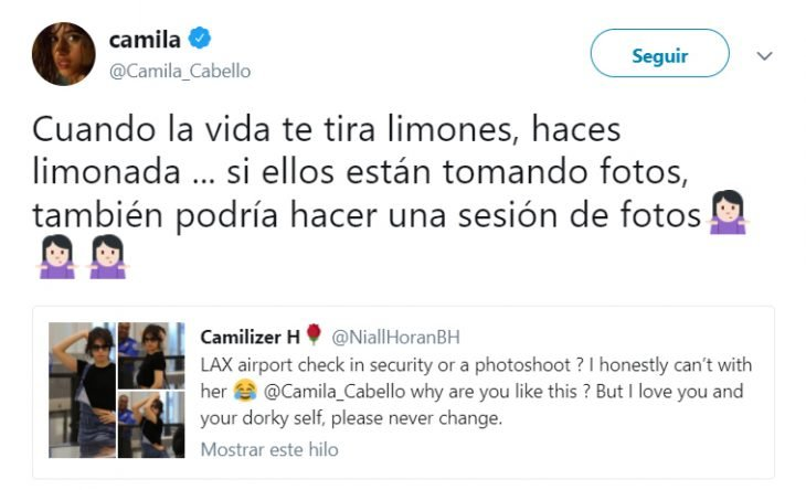 Comentarios en twitter sobre la sesión de camilla cabello en el aeropuerto