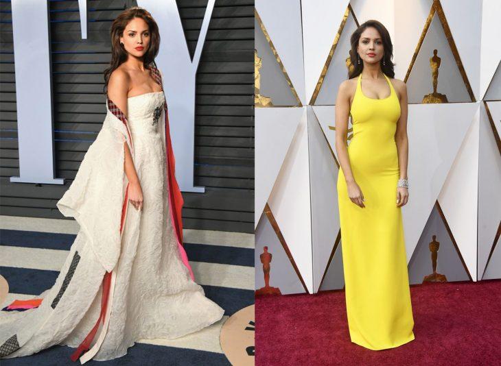 Comparación de los vestidos que usó Eiza Gonzales en los Óscar