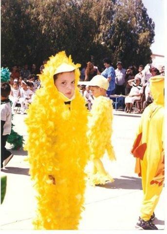 niño disfrazado de pollito