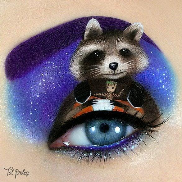 Parpado pintado con una escena de la película guardianes de la galaxia