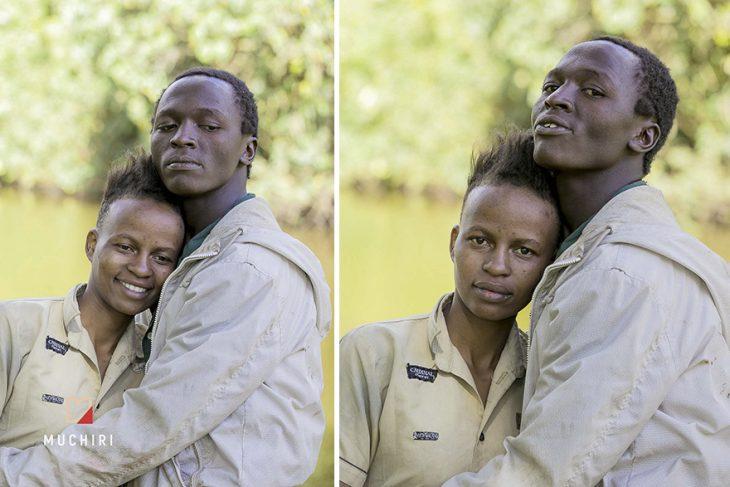 Pareja de personas sin hogar posando para una sesión de fotos