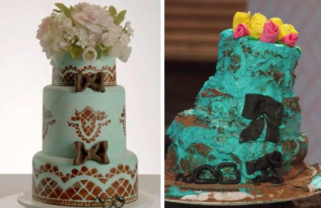 Pastel de bodas junto a una recreación mal hecha