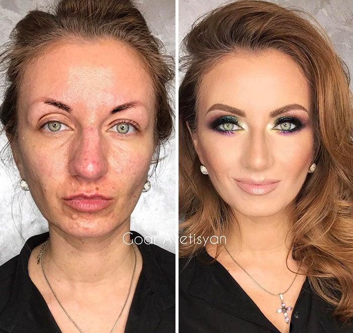 Antes y después de una transformación hecha con maquillaje