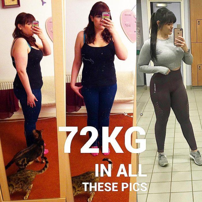 Mujer mostrando el cambio de su cuerpo sin haber perdido peso