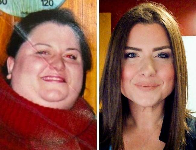 chica antes y después de bajar de peso