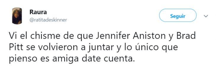 Comentario en twitter sobre el regreso de jenn y brad pitt